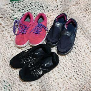 3 pair well used sneakers